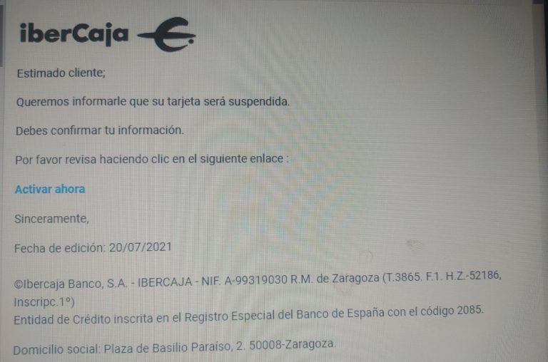 CONSUMUR alerta de un nuevo caso de phishing para los clientes de IberCaja