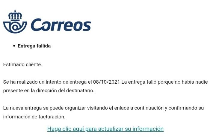 CONSUMUR alerta de un correo electrónico fraudulento, que suplanta a Correos y nos informa de una supuesta entrega fallida